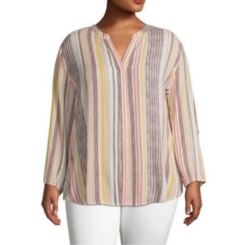 John Paul Richard Plus Size Striped Shirt