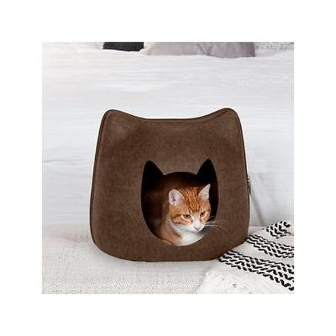 FurHaven Kitty-Shaped Felt Cubby Cat Bed, Heather Brown