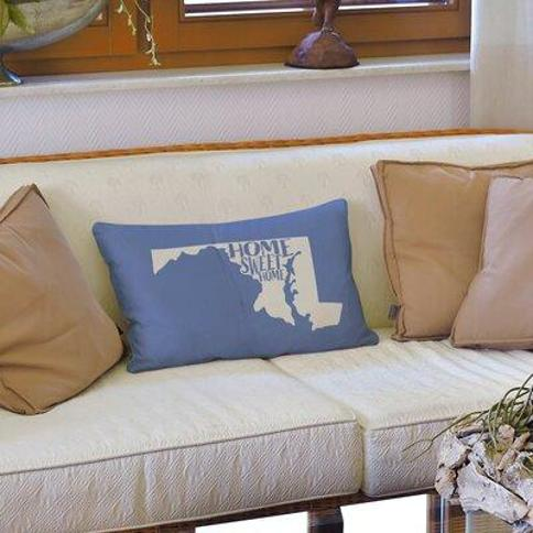 East Urban Home Home Sweet Massachusetts Lumbar Pillow Cover FCKF9222 Color: Blue State: Maryland Cover Material: Faux Suede