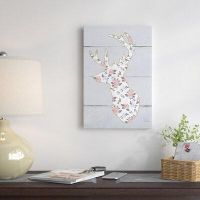 East Urban Home Floral Deer Ii Graphic Art Print On Canvas Canvas Fabric In Brown Gray Size 12 H X 8 W X 0 75 D Wayfair Yahoo Shopping