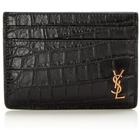 Croc-embossed Leather Credit Card Holder - Black - Saint Laurent Wallets