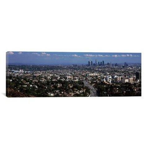 """East Urban Home 'Buildings in a city Hollywood City of Los Angeles California 2010' Photographic Print on Canvas FBTV5124 Size: 12"""" H x 36"""" W x 1.5"""" D"""