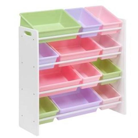 Honey Can Do White & Pastel Kids Toy Room Storage Organizer with Totes