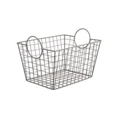 Metal Wire Tapered Storage Basket With Circle Handles by Ashland