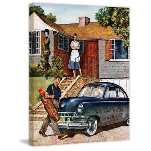 """Marmont Hill This Car Needs Washing by Amos Sewell Painting Print on Wrapped Canvas MH-SEPSP-106-C Size: 48"""" H x 40"""" W x 1.5"""" D"""