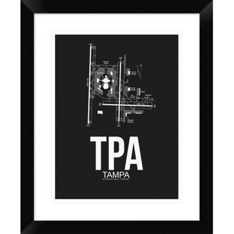 "Naxart 'TPA Tampa Airport' Framed Graphic Art Print in Black DPF-454511-313 Size: 22"" H x 18"" W x 1.5"" D"