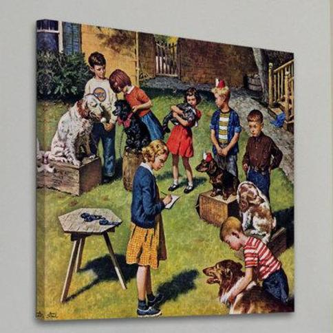 """Marmont Hill Backyard Dog Show by Amos Sewell Painting Print on Wrapped Canvas MH-RETR-165-C- Size: 24"""" H x 24"""" W"""