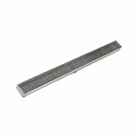 """Infinity Drain S-AG 6548 48"""" Grate 48"""" PVC Channel Stop Ends and Outlet Assem Satin Stainless"""