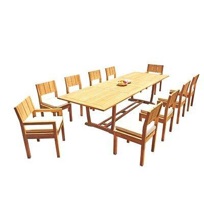 Rosecliff Heights Elmer 11 Piece Teak Dining Set X112832587 Table Size 30 5 H X 82 L X 40 W Yahoo Shopping