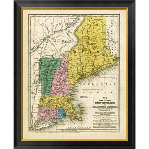 "Global Gallery Map of the New England or Eastern States 1839 by Samuel Augustus Mitchell Framed Graphic Art on Canvas GCF-295182- Size: 34"" H x 28"" W x 1.5"" D"