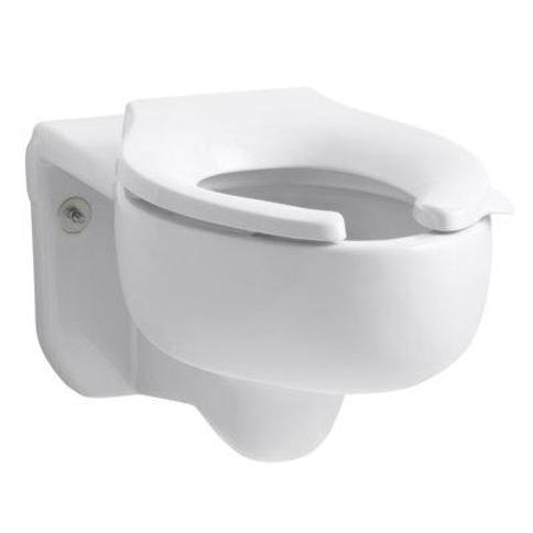 Kohler Stratton Wall-Mounted 3.5 GPF Water-Guard Flushometer Valve Elongated Blow-Out Toilet Bowl with Top Inlet Requires Seat K-4450-C Finish: White