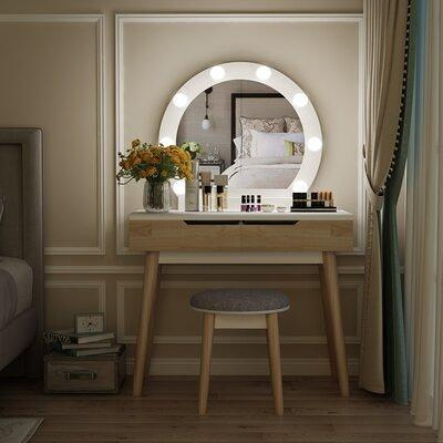 Corrigan Studio Schofield Solid Wood Vanity With Stool And Mirror X114508989 Yahoo Shopping