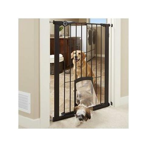MyPet Extra Tall Petgate Passage Gate with Small Pet Door, Bronze, 42-in