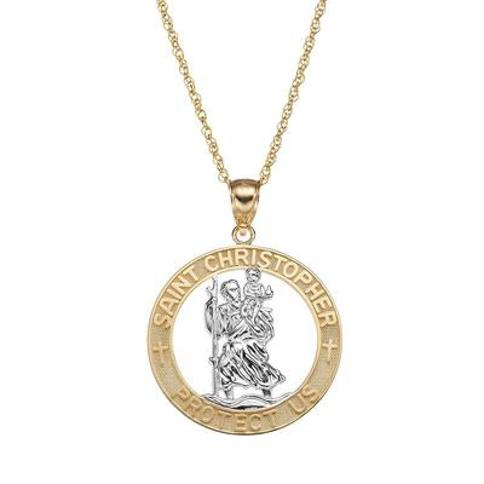 """""""14k Gold Two Tone St. Christopher Pendant Necklace, Women's, Size: 18"""""""""""
