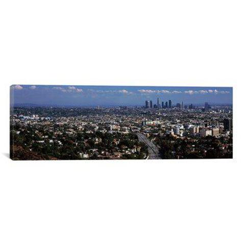"East Urban Home 'Buildings in a city Hollywood City of Los Angeles California 2010' Photographic Print on Canvas FBTV5124 Size: 12"" H x 36"" W x 0.75"" D"
