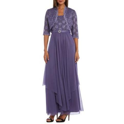 RM Richards Lavendar Women's 2 Piece Laced Long Jacket with Dress Set