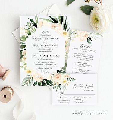 Editable Template Printable Invitation Blush Pink Flowers Wedding Suite Freya Suite