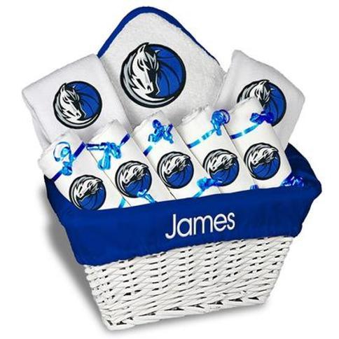 """Newborn & Infant White Dallas Mavericks Personalized Large Gift Basket"""