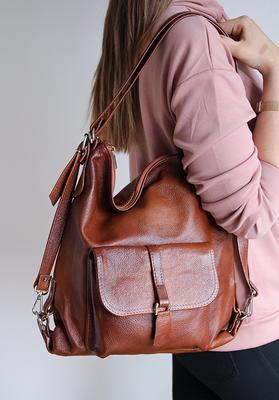 LEATHER Bag Leather BACKPACK Leather PURSE Multi Way Rucksack Tote Bag Cognac Brown Leather Shoulder Bag Hobo Bag Cross Body  Bag