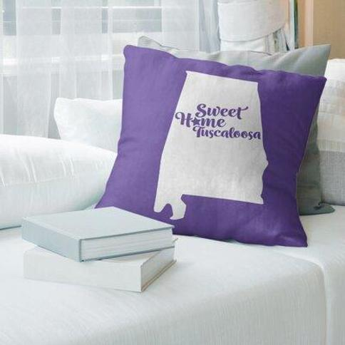 "East Urban Home Montgomery Alabama Pillow Cover FCKF9081 Color: Purple Size: 14"" H x 14"" W City: Tuscaloosa"