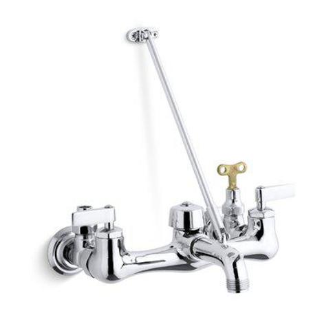 Kohler Kinlock Double Lever Handle Service Sink Faucet with Top-Mounted Wall Brace and Loose-Key Stops K-8908 Finish: Polished Chrome