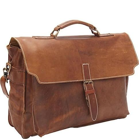 Sharo Soft Brown Leather 16-inch Laptop Messenger Briefcase (Brown)