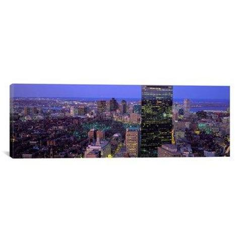 """iCanvas Panoramic Aerial View of a City Boston Suffolk County Massachusetts Photographic Print on Canvas PIM7096 Size: 12"""" H x 36"""" W x 1.5"""" D"""