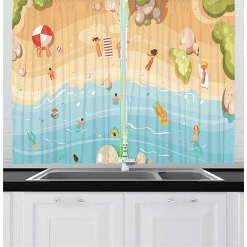 East Urban Home 2 Piece Graphic Beach Summer Aerial View Cartoon Coast People Having Fun at Sea and Shore Kitchen Curtain Set FCNP9353