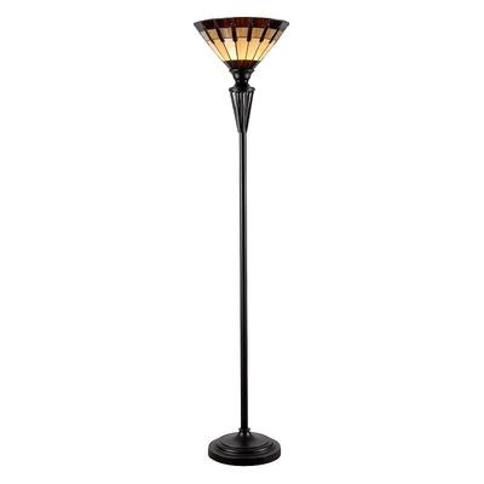 Kenroy Home Harmond Tiffany Torchiere Floor Lamp, Brown