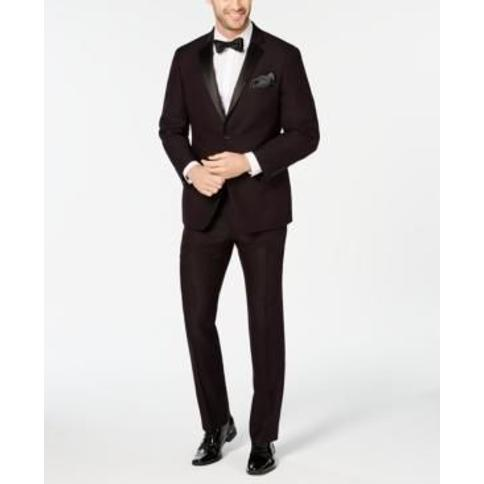 Perry Ellis Men's Slim-Fit Stretch Wrinkle-Resistant Burgundy Textured Tuxedo