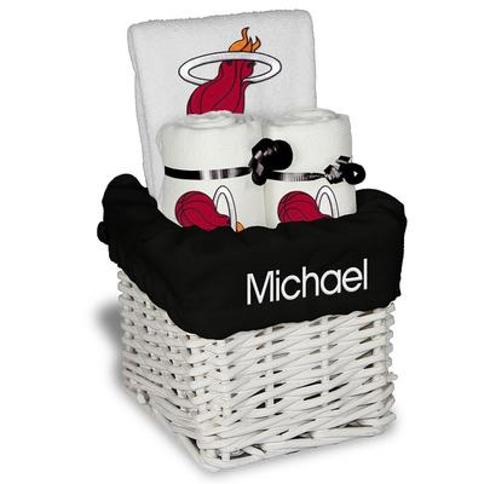 """White Miami Heat Personalized Small Gift Basket"""