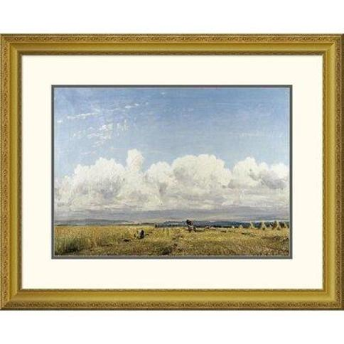 """Global Gallery 'Building Haystacks' by William Page Atkinson Wells Framed Painting Print DPF-265797 Size: 25.73"""" H x 32"""" W x 1.5"""" D"""