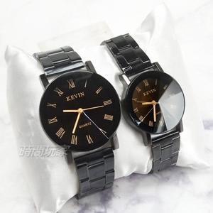 KEVIN 羅馬時刻情人對錶 情侶錶 男錶 女錶 防水手錶 KE2068黑羅大+KE2068黑羅小