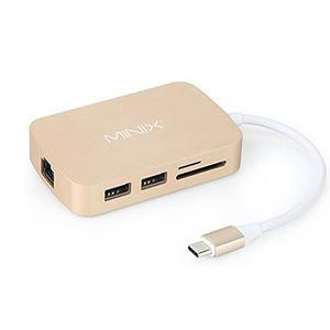 【美國代購】MINIX NEO C, USB-C 多功能集線器 with HDMI / RJ45網路 - Gold (適用 MacBook)