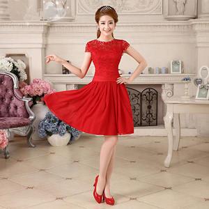 ♥ 俏魔女美人館 ♥ 出租禮服 雪紡婚紗禮服2014新款紅色結婚 敬酒服新娘一字肩蕾絲短款伴娘服