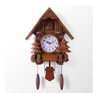 工廠價歐式掛鐘布穀鳥報時搖擺壁鐘創意小鳥出窗客廳現代咕咕鐘(古典實木風格)