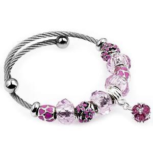 愛心手鏈 皇冠鈦鋼手鏈 粉色水晶串珠飾品s26