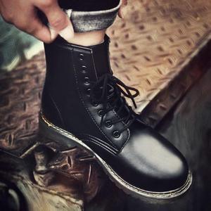 馬丁靴男英倫皮靴秋季高幫軍靴男防水長筒靴子男士潮流馬丁鞋黑色