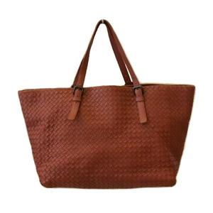 【巴黎站二手名牌專賣店】*Bottega Veneta BV 真品*磚橘色 編織羊皮 大購物包 肩背包