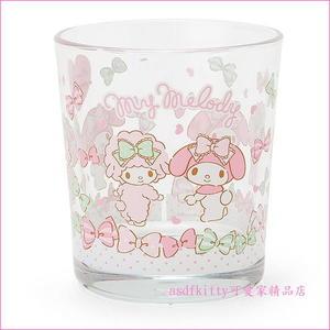 asdfkitty可愛家☆美樂蒂雙胞胎版透明玻璃杯/水杯/漱口杯-255ML-日本正版商品