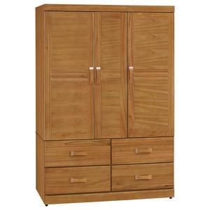 【森可家居】艾莉絲柚木4X6尺衣櫥 8SB119-1 衣櫃木紋質感 實木 無印鄉村風