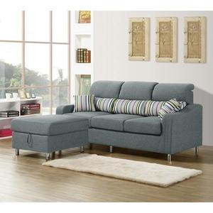【森可家居】金田L型灰色布沙發(三人座+收納型腳椅) 8ZX541-2 可拆洗 北歐風