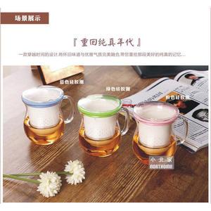 三件式泡茶杯 耐熱玻璃杯身+純白陶瓷過濾