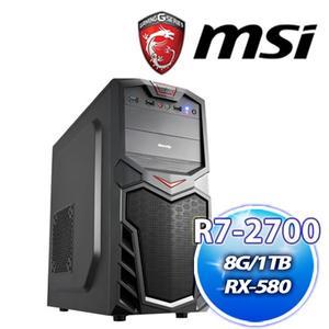 微星 B450M 平台【慈悲5號】AMD R7 2700+華碩 DUAL-RX580-O4G雪原豹電競機送DS B1【刷卡分期價】