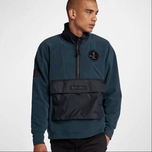 Nike Air Force AF1 深藍 絨毛 半開襟 立領 衝鋒衣 長袖 男 (布魯克林) 2018/11月 AJ0802-454