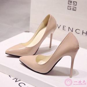 高跟鞋 歐洲站裸色細跟高跟鞋尖頭黑色工作單鞋女漆皮藍色大碼鞋紅色婚鞋