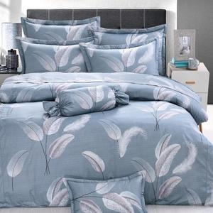 羽紛飛 單人鋪棉床罩組(3.5x6.2呎)五件式(100%純棉)灰藍色[艾莉絲-貝倫] MIT台灣製T5H-6858-BU-S
