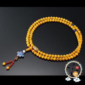 轉經輪+黃金硨磲108念珠7mm    +平安加持小佛卡  【 十方佛教文物】