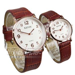 KEVIN 情人對錶 數字時刻簡約時尚腕錶 防水手錶 皮革錶帶 咖啡x玫瑰金電鍍 KV3068咖大+KV3068咖小