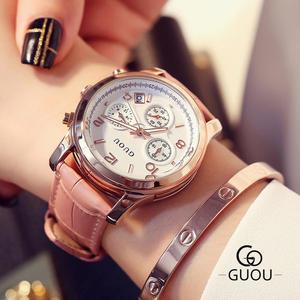 [現貨] GUOU古歐三眼皮質時刻石英錶 女錶 GOU8179